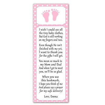 30 bookmarks baby shower sprinkle favor ideas pink white footprints for girls](Ideas For Girl Baby Shower)