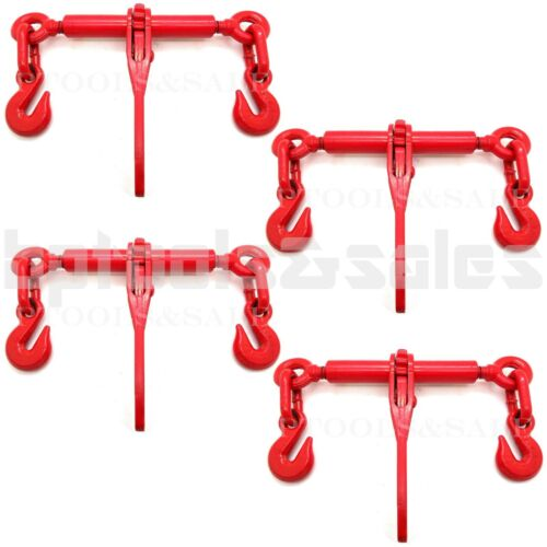 """(4) 1/4"""" or 5/16"""" RATCHET LOAD BINDER CHAIN EQUIPMENT TIE DOWN RIGGING"""