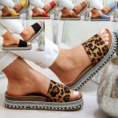 New Womans Studs Sliders Diamante Mule Summer Sandals Slip On Shoes Size 3-8