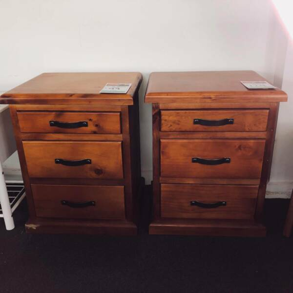 HARDWOOD BEDSIDE TABLES SET OF TWO - UP TO 8% OFF RRP