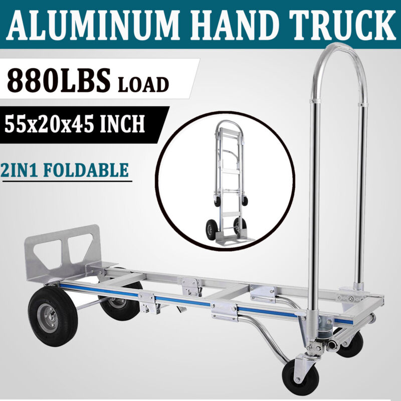 2in1 Aluminum Hand Truck Dolly Convertible Folding Utility Cart 880LBS Capacity