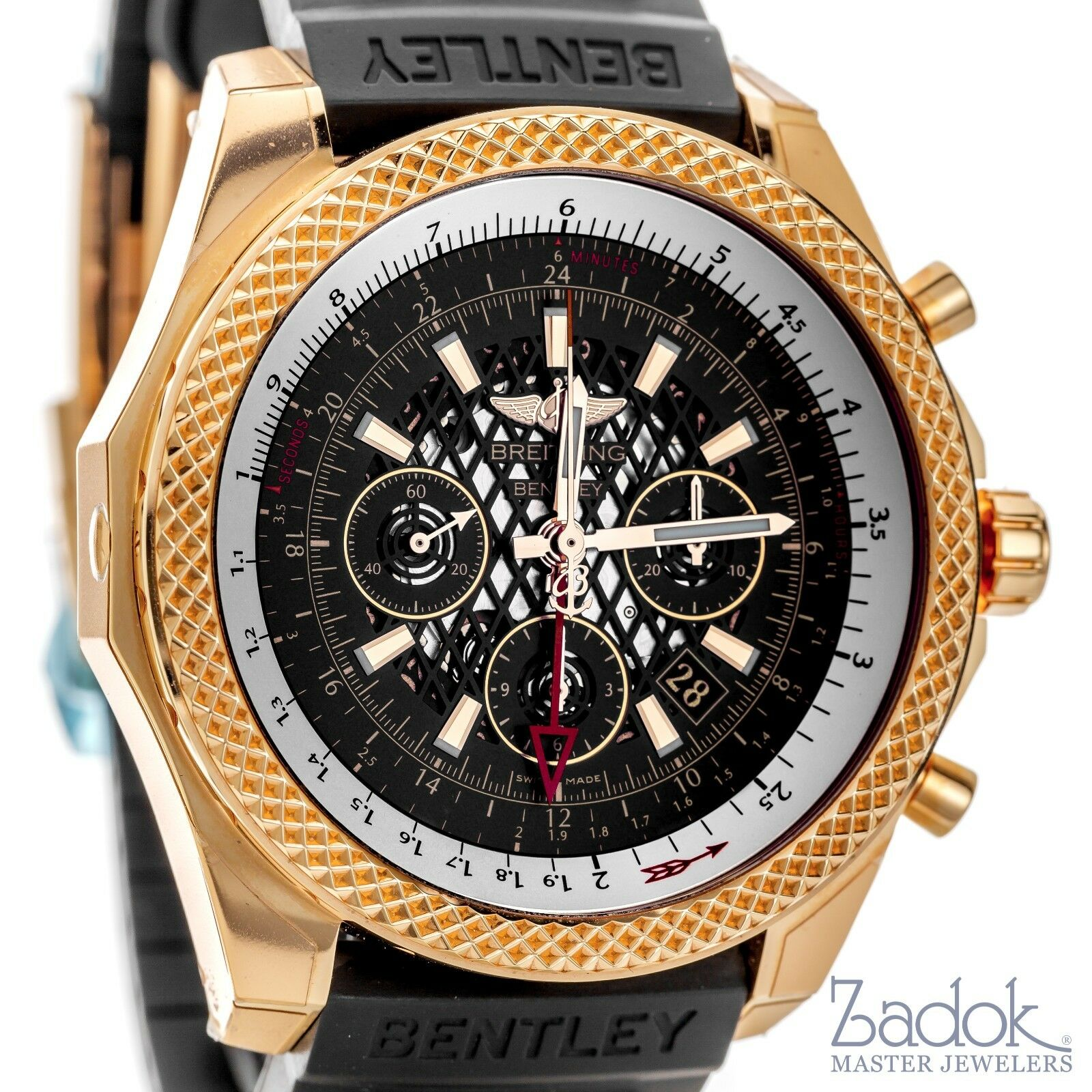 $31045.00 - Breitling for Bentley B04 GMT 18k Rose Gold Chronograph Watch RB043112 Black
