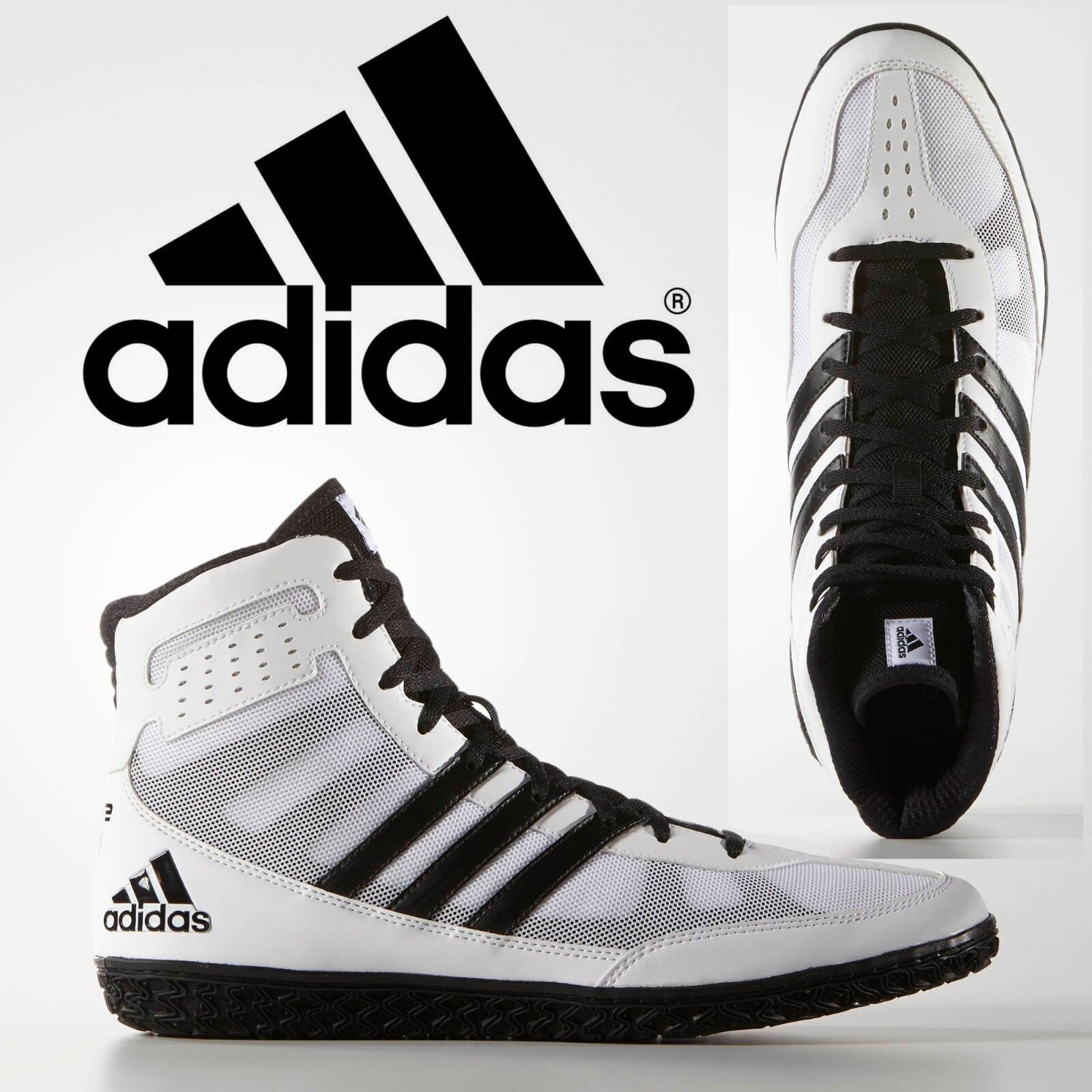 03b8e09473855e Adidas Mat Wizard 3 White Black Wrestling Shoes Specialist Light ...