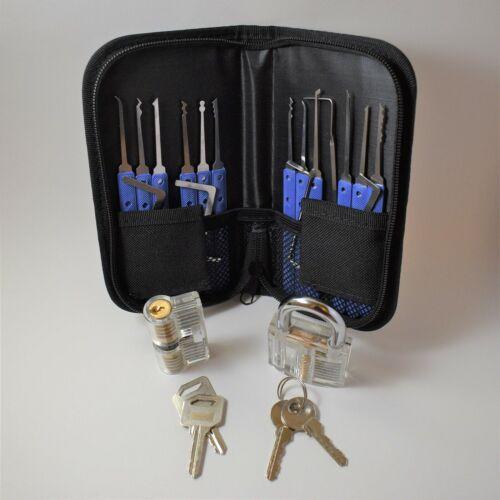 19 Pc Lock Pick Training Set with 2 clear training locks