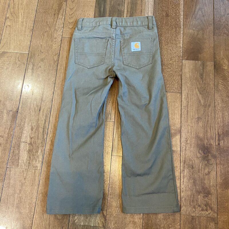 "Boys Carhartt Brown Pants Cotton Blend sz 5/ 18"" inseam"