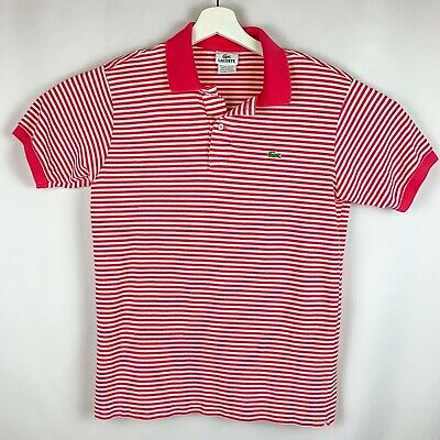 LACOSTE SHORT SLEEVE POLO HOT PINK & WHITE STRIPED SHIRT MEN'S TAG SIZE 4 SMALL