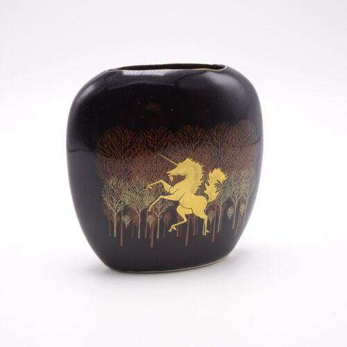 Unicorn Vase Vintage Otagiri Japan Gold and Black Flattened shape