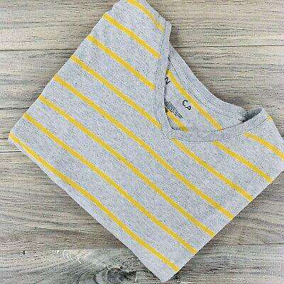 Nautica Mens Standard Short Sleeve Striped V Neck Gray T-Shirt Size XL