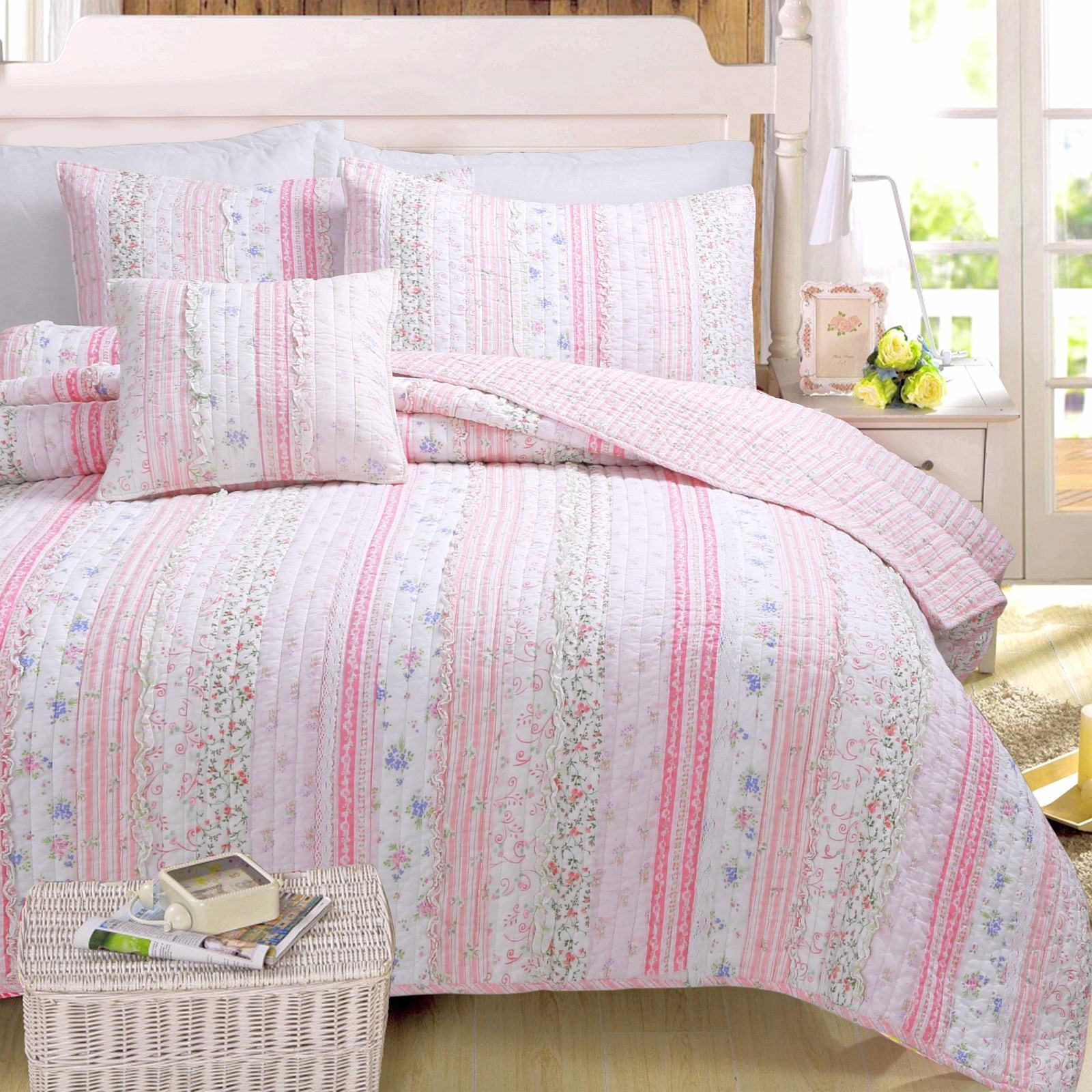 Pink Romantic Embroidered Chic Lace 100% Cotton Quilt Set, B