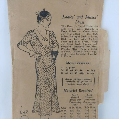 1920s Dress Antique Sewing Pattern 36 Bust Factory Fold Yoke Waist Belt 11 pcs