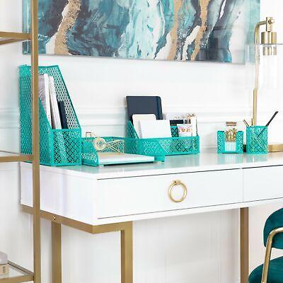 Blu Monaco Dark Teal 5 Piece Cute Desk Organizer Set - Cute Office Accessories