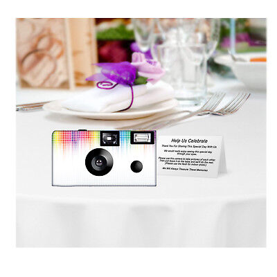 - 5 pack Electronic Rainbow Disposable Camera, Single Use, wedding, sweet 16