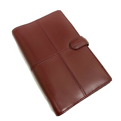 Filofax Compact Red Leather Planner Organizer Wallet Personal Snap