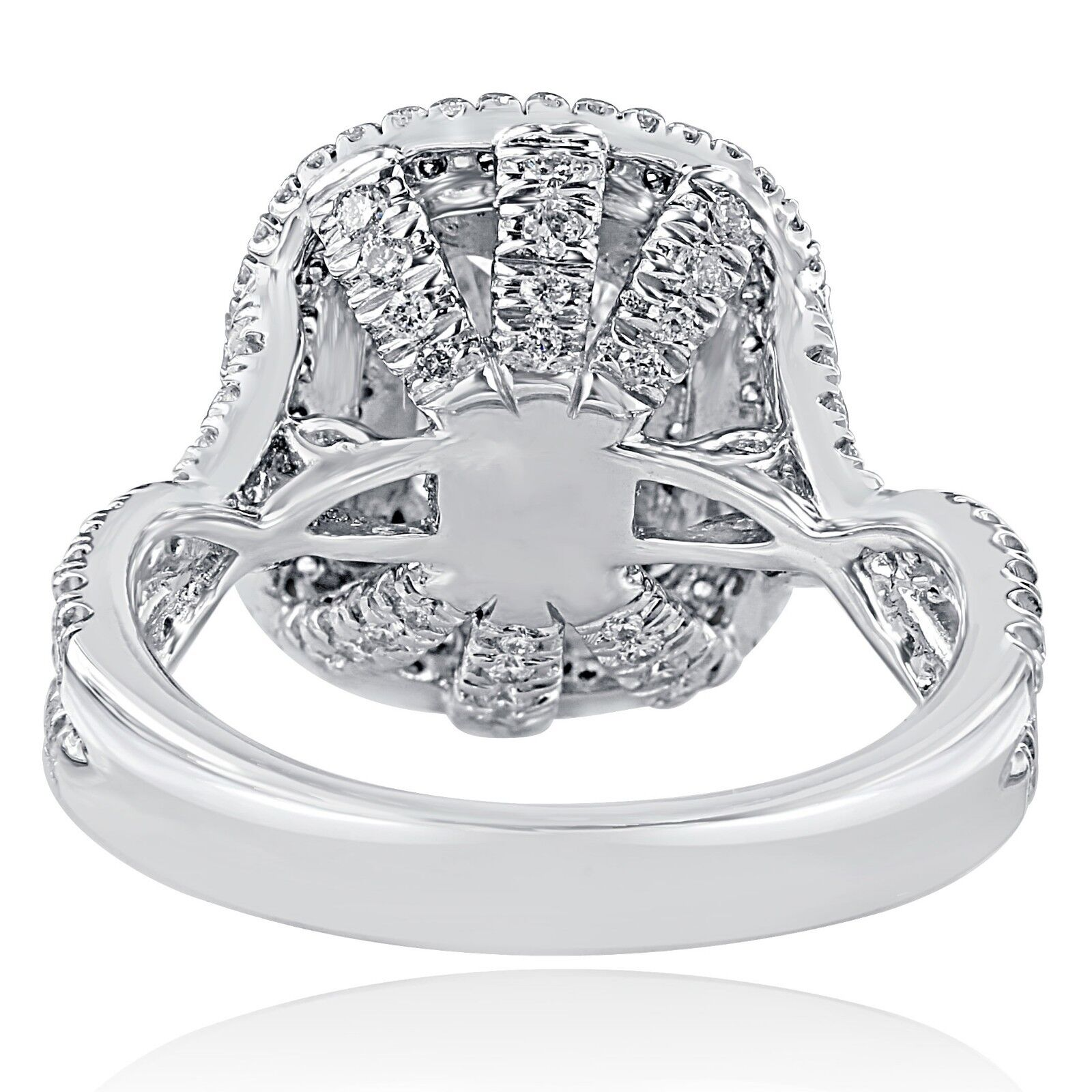GIA Certified 2.18Ct F-SI1 Radiant Cut Diamond Engagement Infinity Ring 18k Gold 6