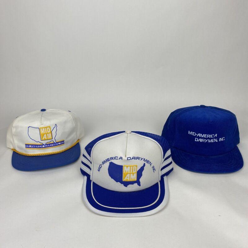 (3) VTG Mid-America Dairymen Inc. Trucker Hats 3 Stripe, Corduroy, Made In USA