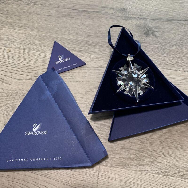 Swarovski Crystal 2002 Annual Christmas Snowflake Ornament Original Box & Cert
