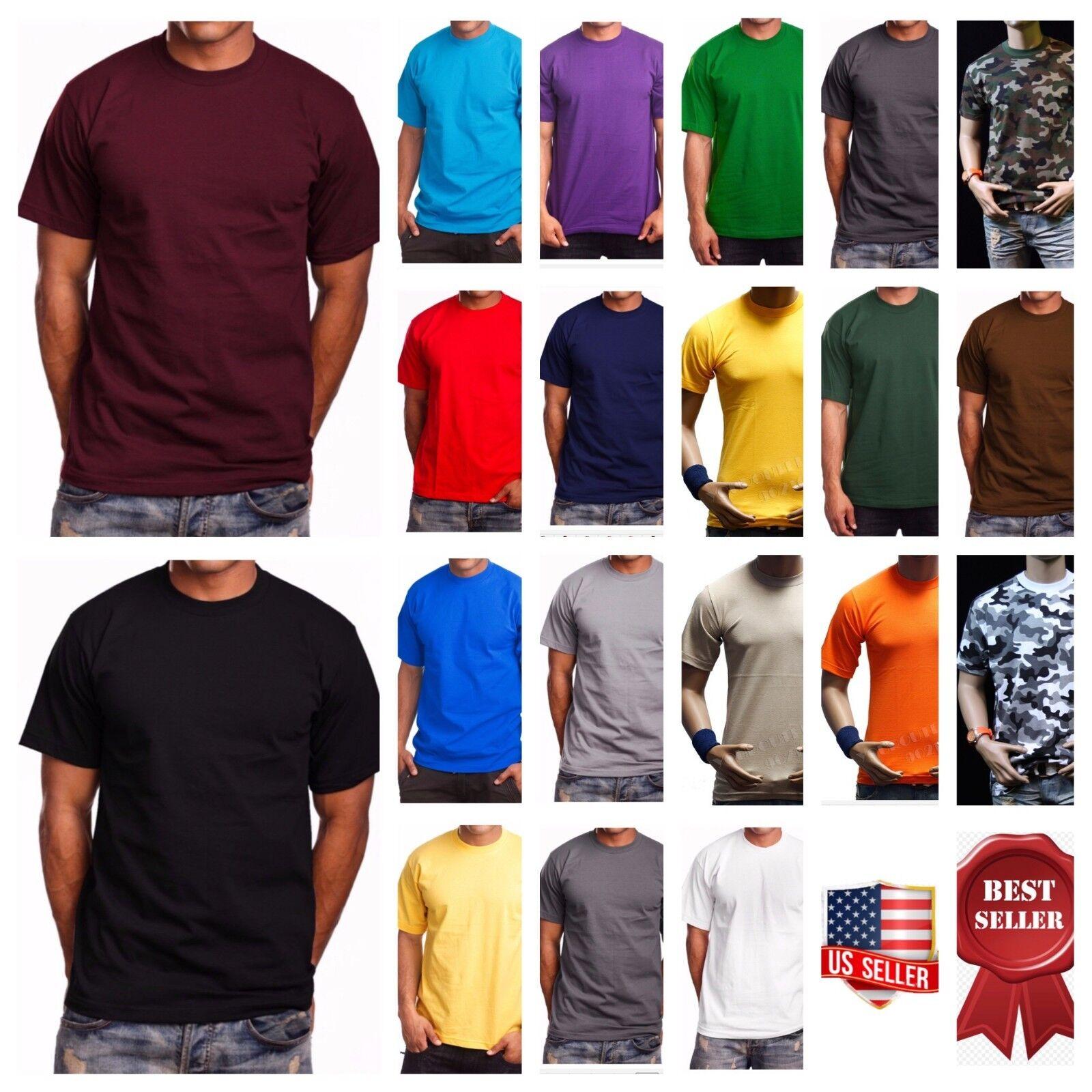 как выглядит Мужская футболка  Mens HEAVY WEIGHT T-Shirt Plain Short Sleeve Casual Crew Neck Fashion Tee S-7X фото