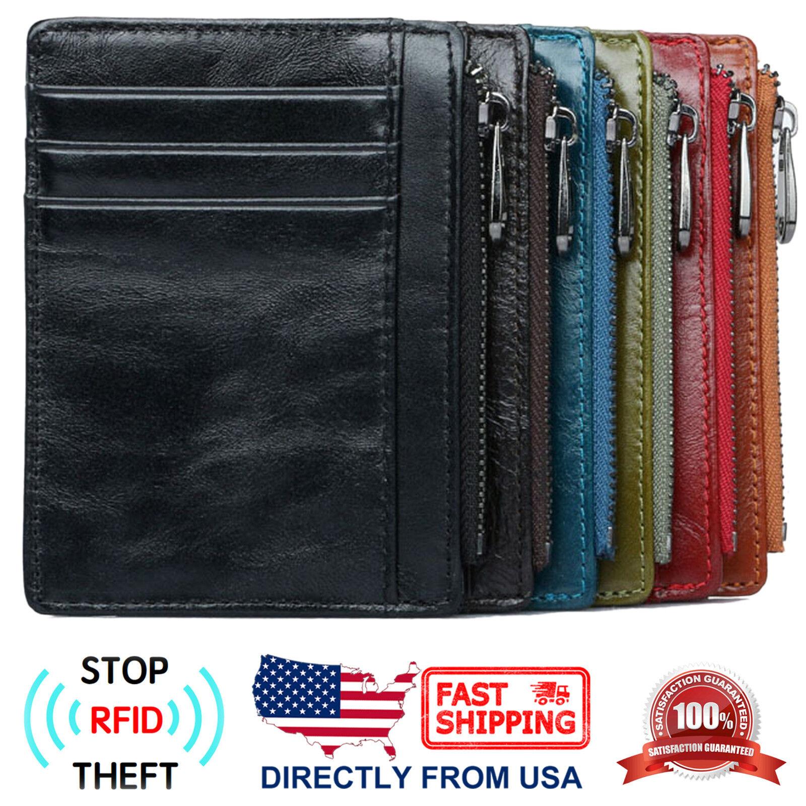 Men's RFID Blocking Full Grain Leather Zipper Pocket Slim Mi