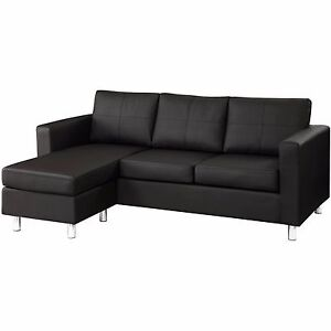 modern black bonded leather small sectional sofa small space