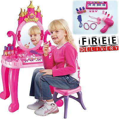 Piano Keyboard Table (Kid Vanity Piano Table Set 16Pc Kit Keyboard Lights Child Playset Princess)