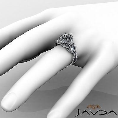 3 Stone Halo Cross Shank Pave Set Round Diamond Engagement Ring GIA F SI1 2.4Ct 3