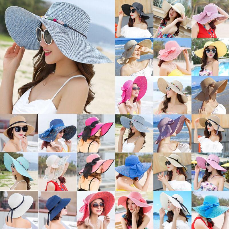 Damen Strohhut Breite Krempe Strandhut Sommer Sonnenschutz Hut Schlapphut Mütze