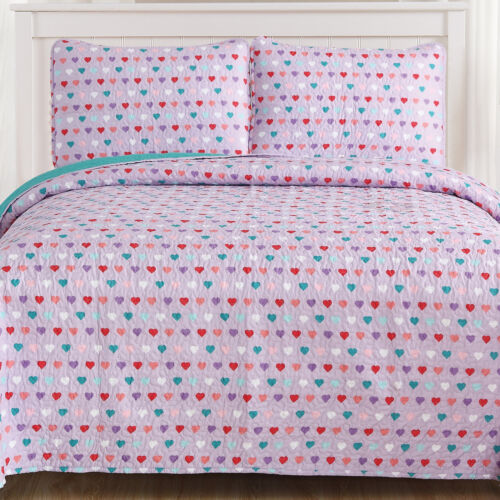 Sweet Home Collection Hearts Kids Reversible Quilt & Sham Set Bedding