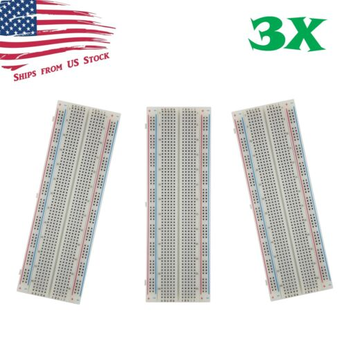 3X MB-102 830 Point Prototype PCB Solderless Breadboards Protoboards 3Pcs US