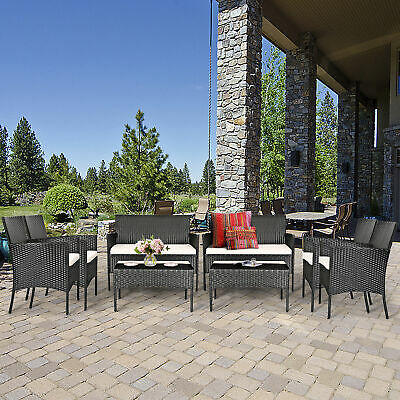 Garden Furniture - 8PC Rattan Wicker Patio Conversation Set Outdoor Furniture Set Garden w/ Cushion