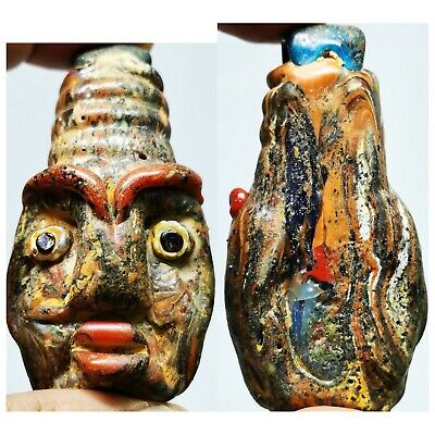 Phoenician wonderful face glass rare old  pendant    # 86
