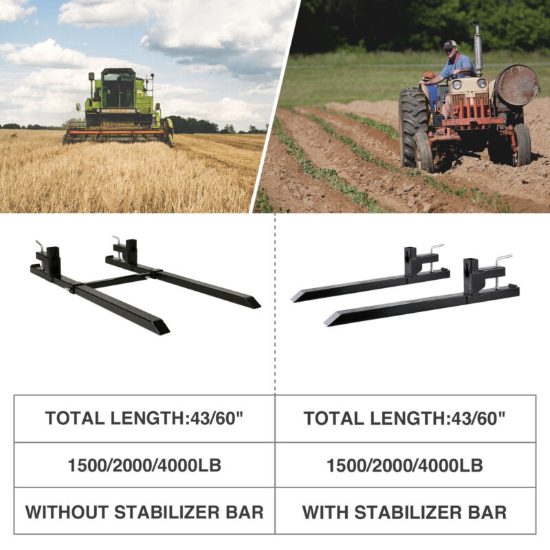 """1500lbs 2000lbs 4000lbs 43"""" 60"""" Clamp on Pallet Forks Heavy Duty Loader Bucket"""