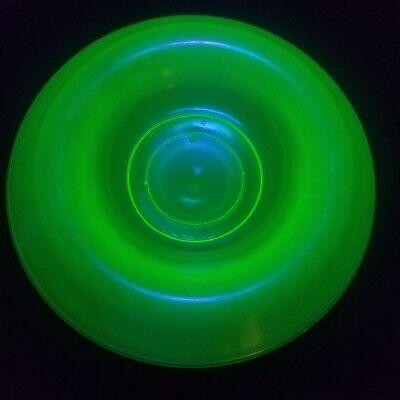 "Vintage Vaseline Glass Stretched Glass 12.5"" Centerpiece Bowl."