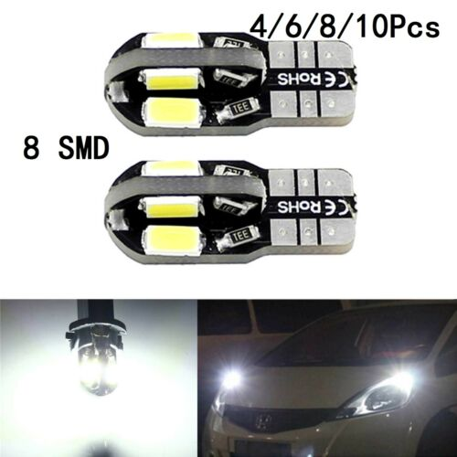 Car Parts - T10 CAR BULBS LED ERROR FREE CANBUS 8 SMD XENON WHITE W5W 501 SIDE LIGHT BULB UK
