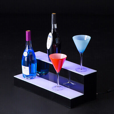 20 Led Lighted Back Bar Glowing Liquor Bottle Display Shelf Glowing 2 Step Tier