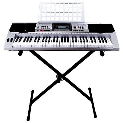 Portable 61 Key Music Electric Keyboard Digital Electronic Piano Organ w/Stand