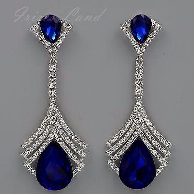 Pearl Rhodium Plated Earrings - Rhodium Plated Blue Crystal Rhinestone Chandelier Drop Dangle Earrings 8732 Prom