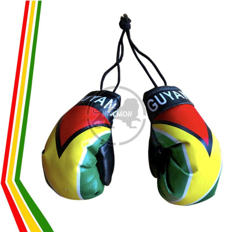 "Guyana Guyanese Flag Mini Boxing Gloves Car Rearview Ornament Culture 4"""