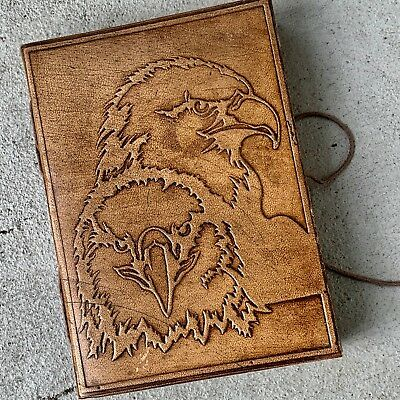 Handmade Leather Journal Note Book Rope Tie closure rugged diary Hawk Eagle Bird for sale  Shipping to India
