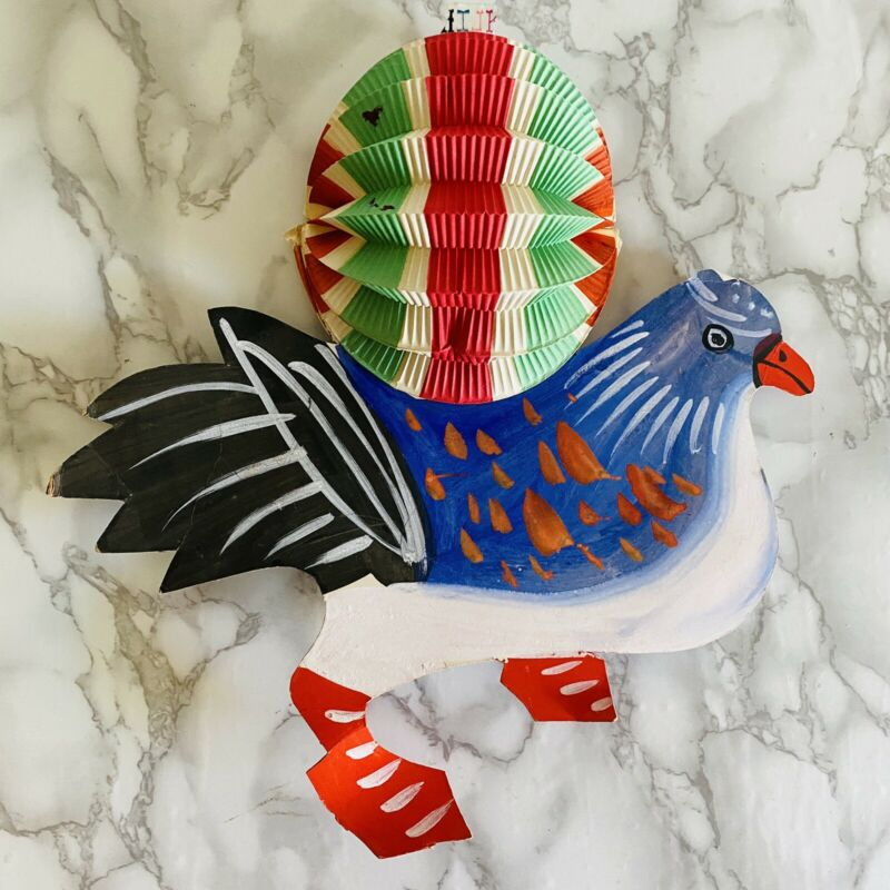Vtg Chinese Paper Hanging Lantern Rare Hand Painted Asian Blue Bird Decoration