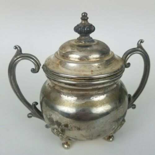 Vintage SILVERPLATE Sugar Bowl With Handles and Lid