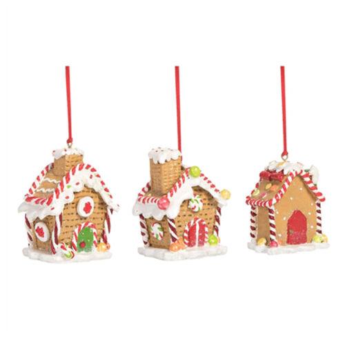 Set/3 Transpac Gingerbread House Christmas Tree Ornaments Retro Vntg Decor Set