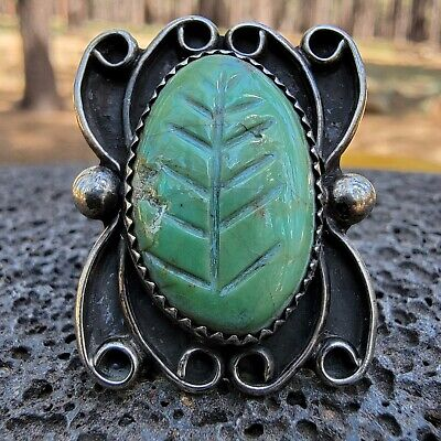 1940s Jewelry Styles and History RARE 1940's Navajo Sterling Silver Carved Leaf Natural Green Turquoise Ring Sz:8 $159.00 AT vintagedancer.com