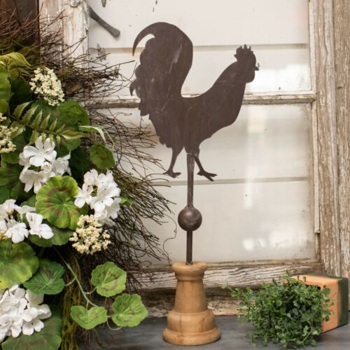 """New Primitive Antique Style ROOSTER PEDESTAL WEATHER VANE Standing Figure 15"""""""