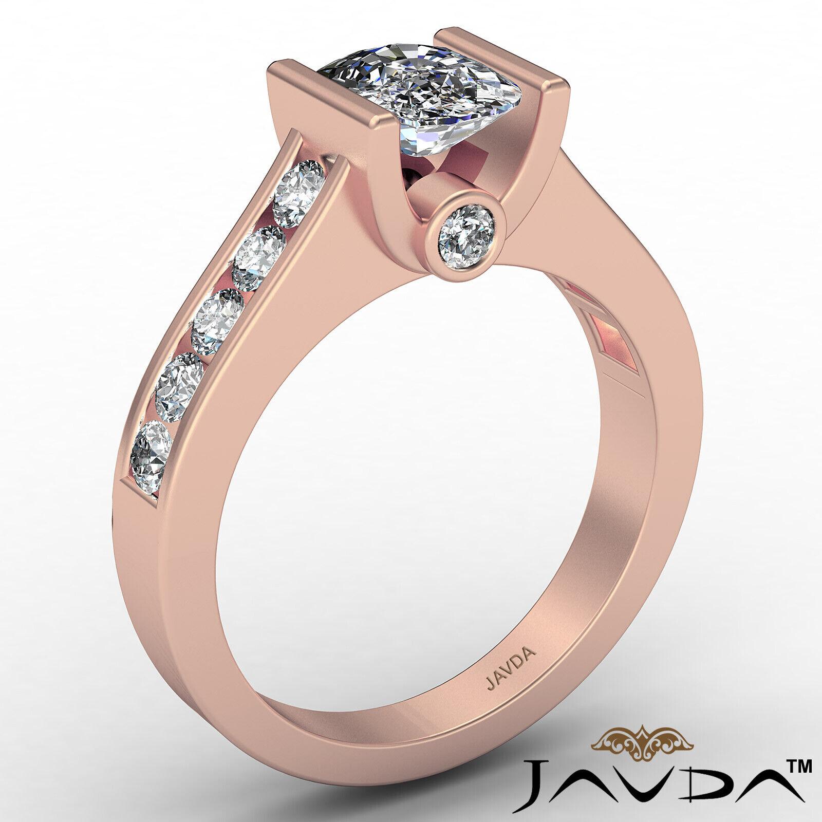 Bezel Cushion Diamond Engagement Women's Ring GIA, J Color SI1 clarity 1.53 ctw. 5