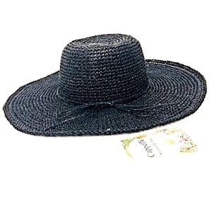 Cappelli Straworld New Black Hat Floppy Wide Brim Hand Made Natural Materials