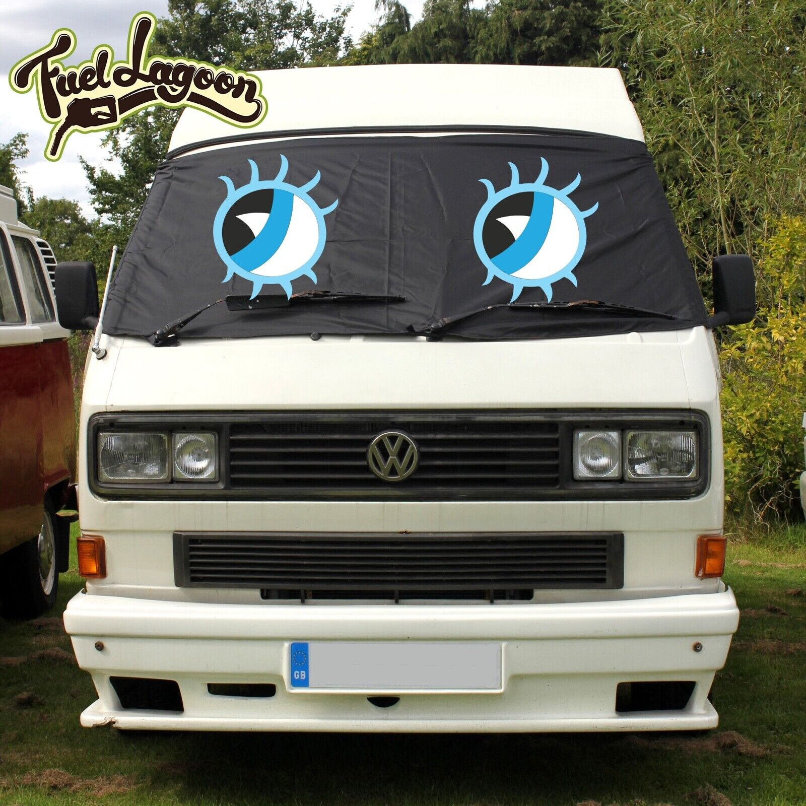 Vw T25 Front Window Screen Cover Camper Van Black Out Blind Wrap Eyes Lashes Ebay