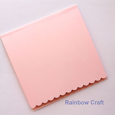 10 blank Cards & Envelopes SQUARE or C6 (9 Colors) - Scallop Wedding Invitation - Sq Pink