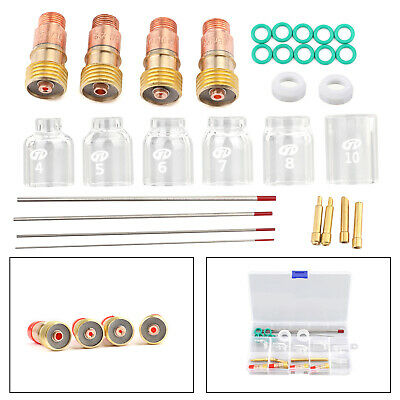 30pcs Tig Welding Stubby Gas Lens Pyrex Cup Kit Fits For Tig Wp-171826 Torch