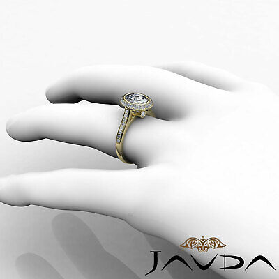 Cathedral Halo Pave Bezel Setting Oval Diamond Engagement Ring GIA H VS2 1.8 Ct 9