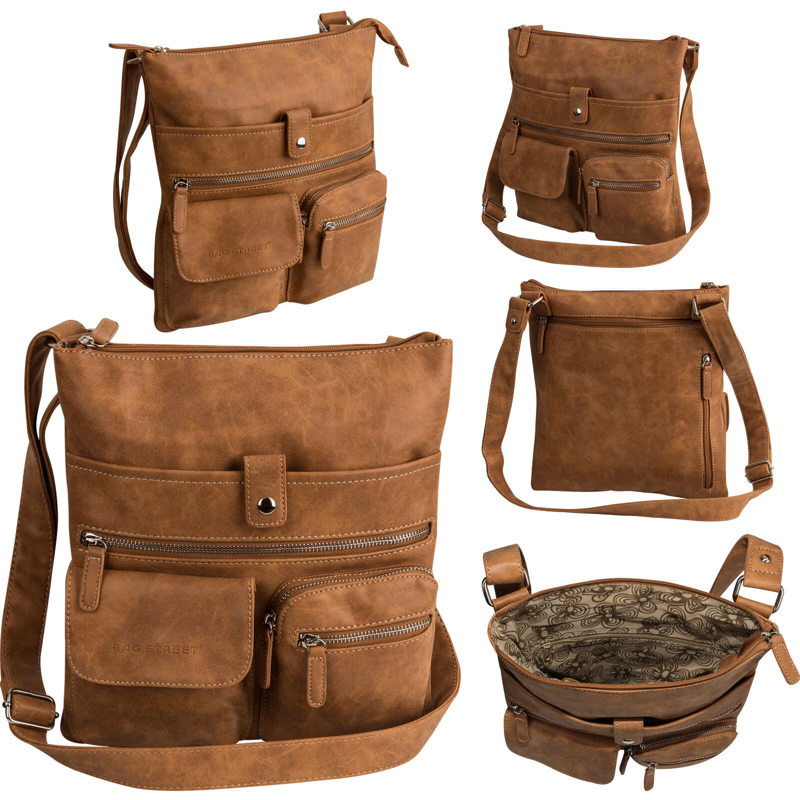 Bag Street Damentasche Umhängetasche Handtasche Schultertasche K2 T0100 Cognac